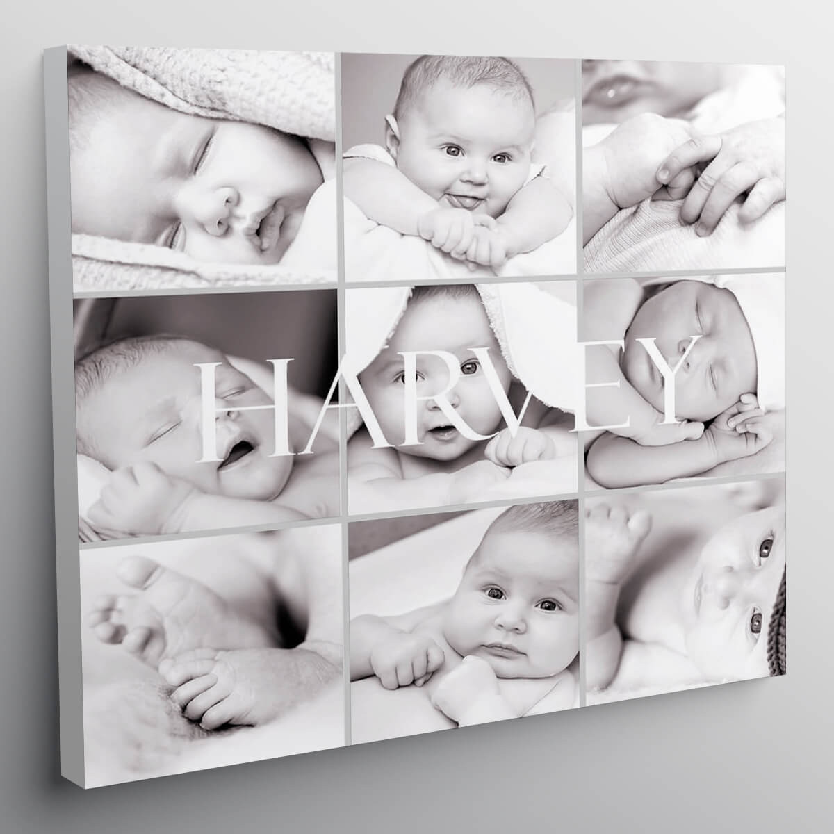 "personalised 12x12"" Collage Canvas For Black and White Photos"