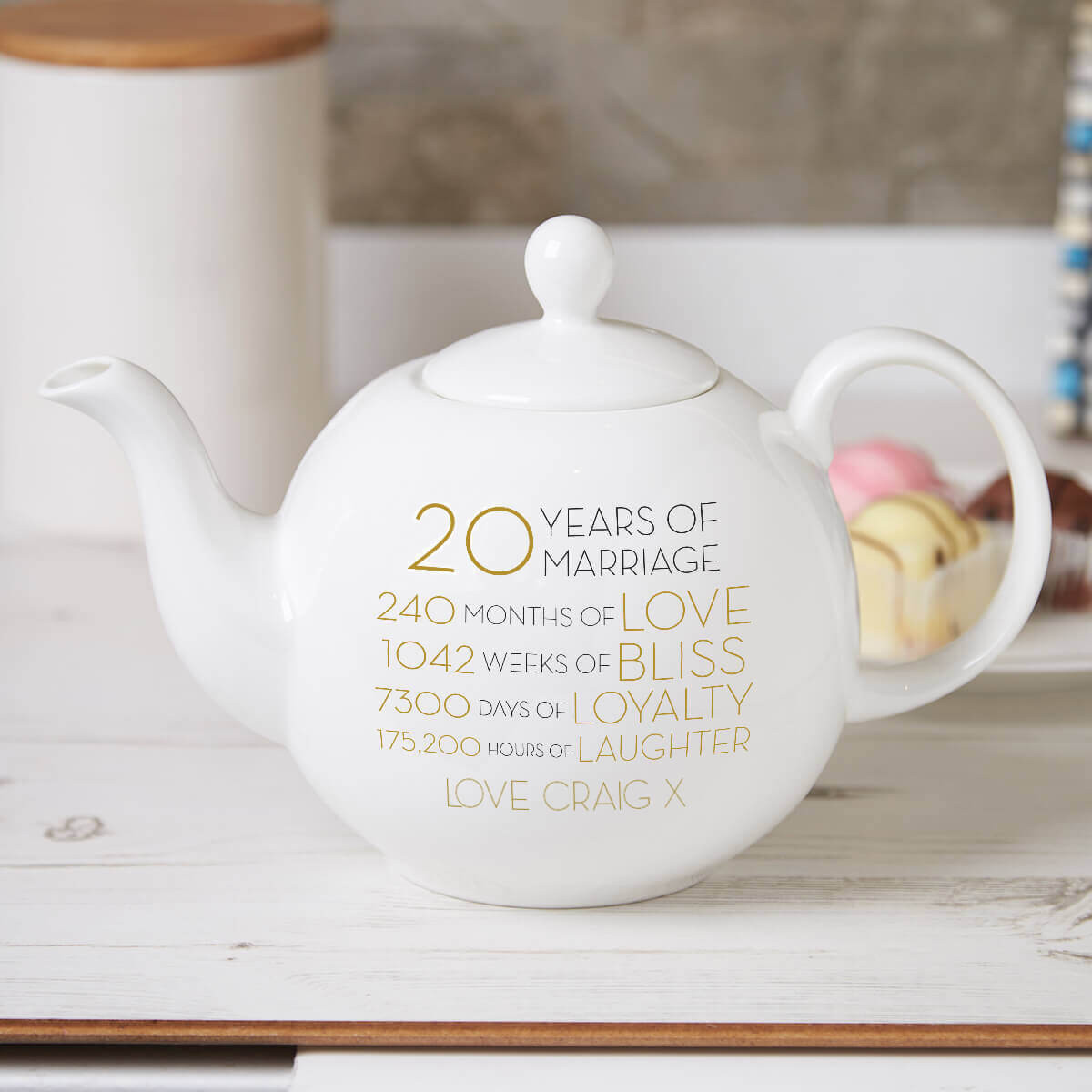 personalised 20 years of marriage teapot