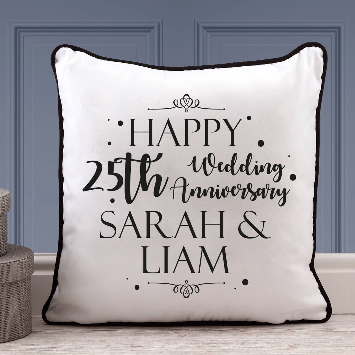 Personalised 25th anniversary piped cushion
