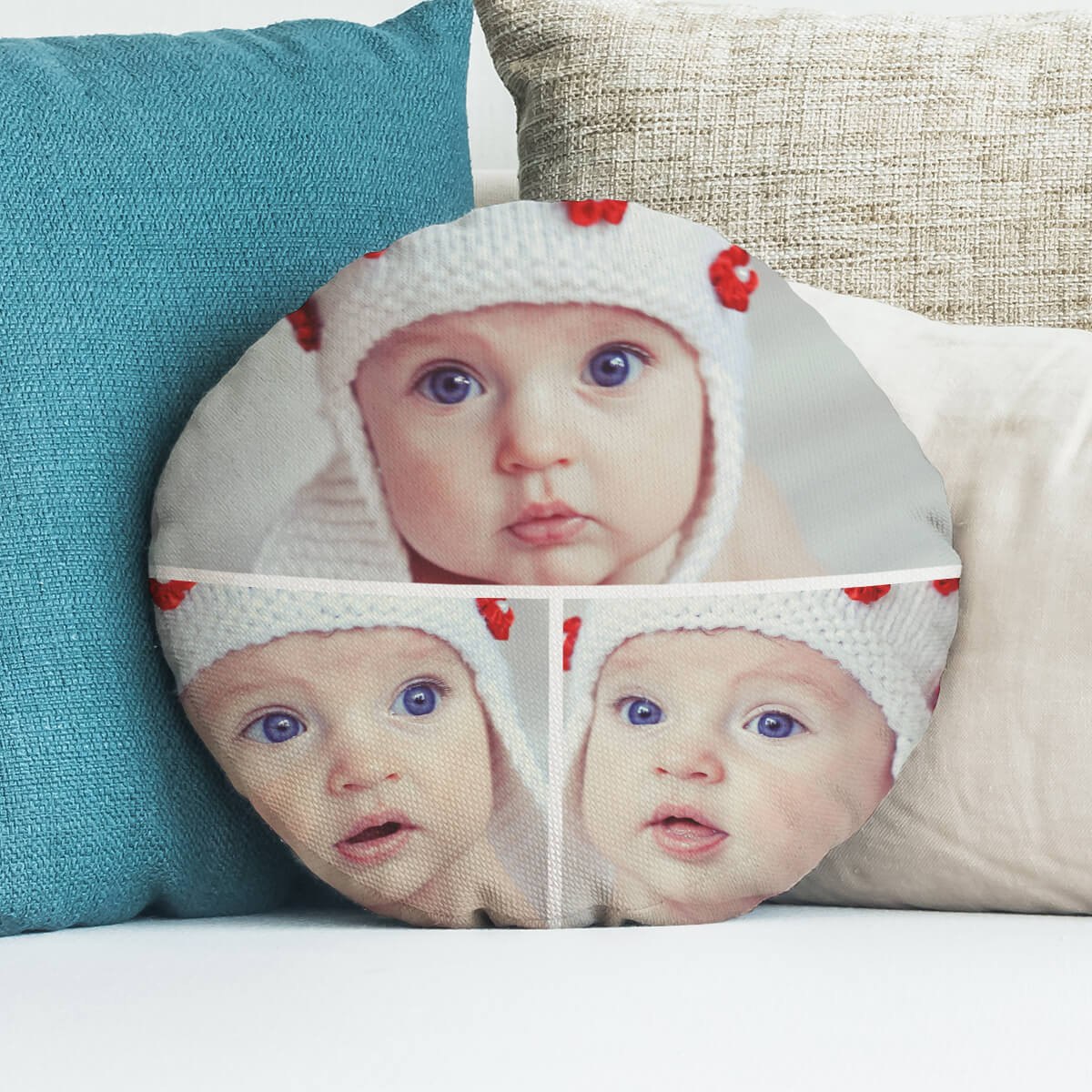 personalised 3 Photo Round Collage Cushion 18""