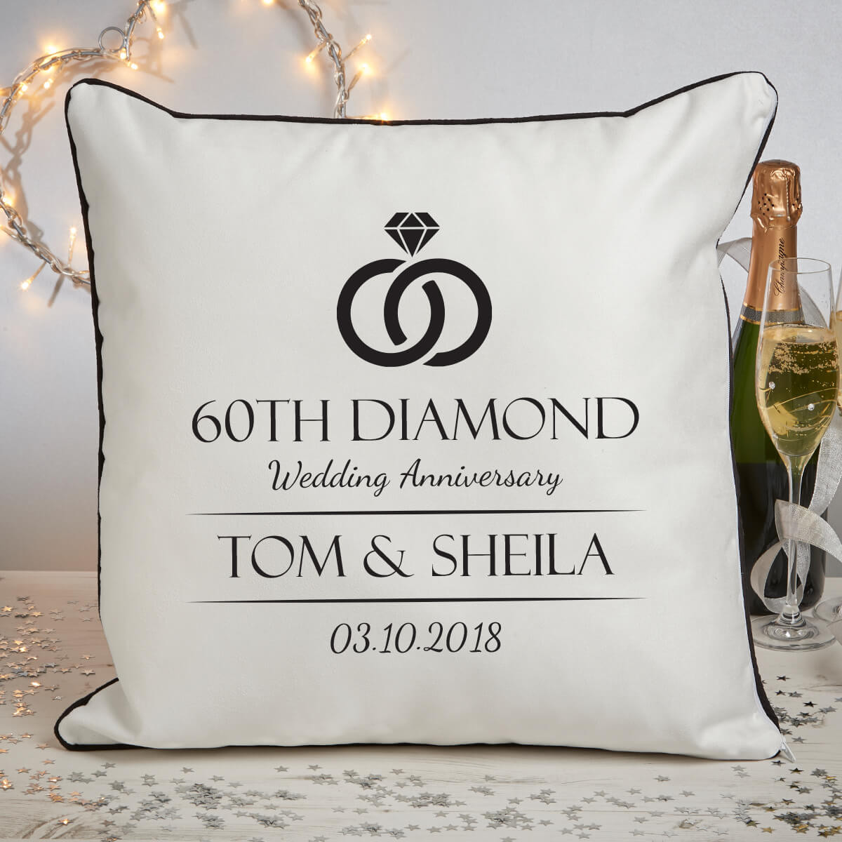 personalised 60th anniversary piped cushion