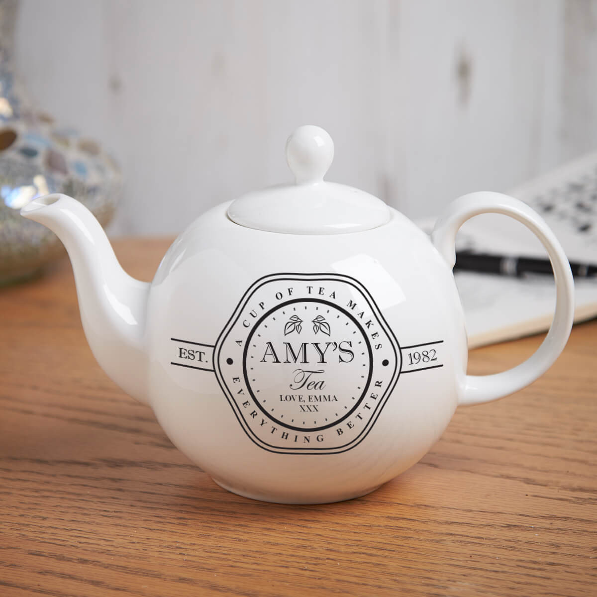 personalised A Cup of Tea Pot Belly Teapot