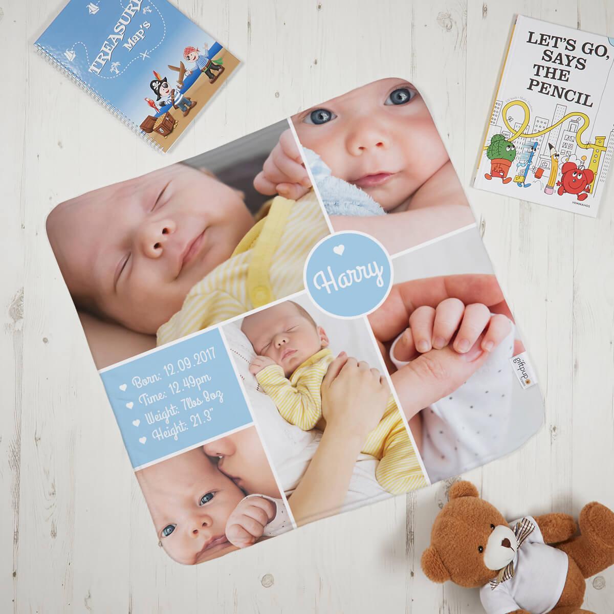 Baby Boy Info Blanket