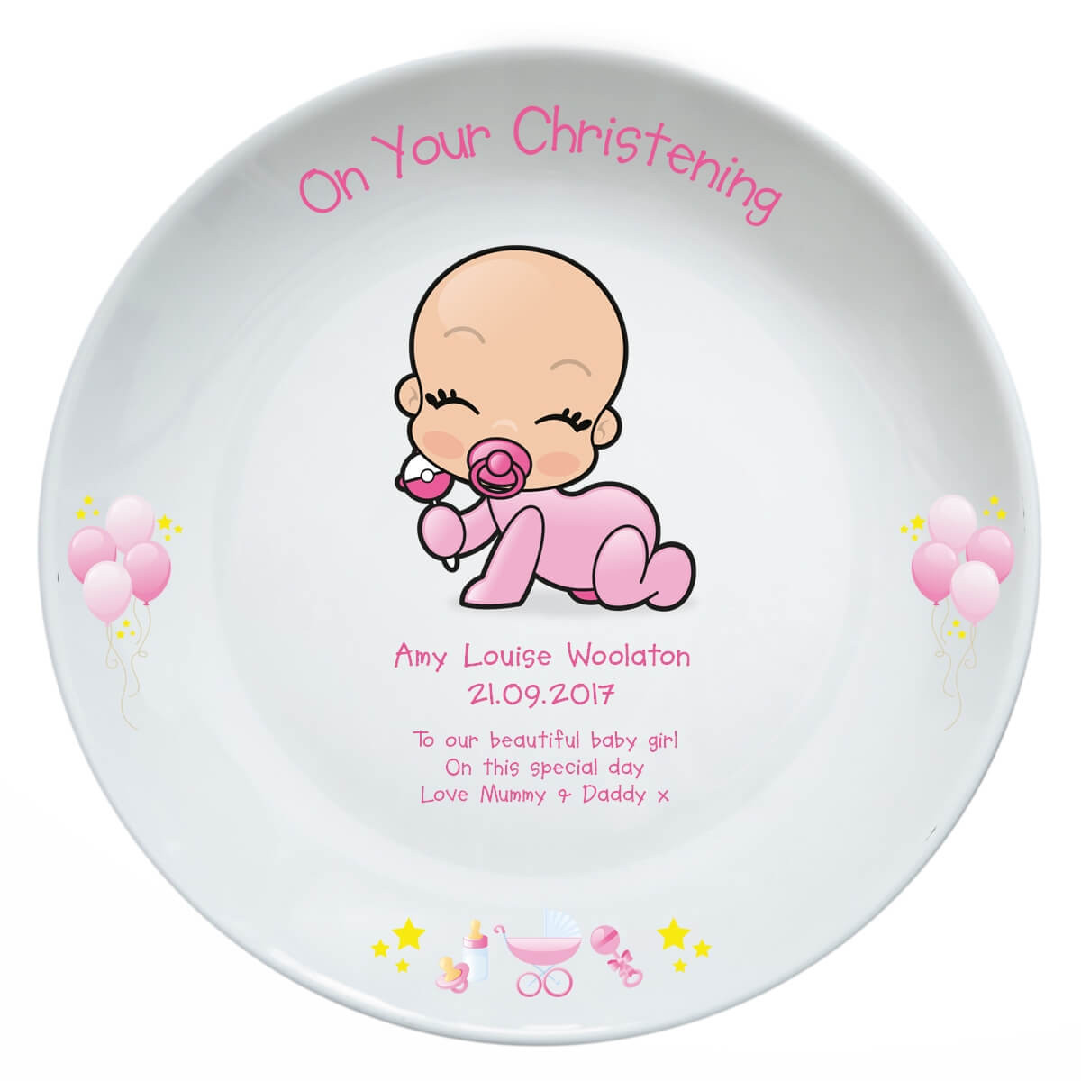 Personalised Christening Plate Baby Girl