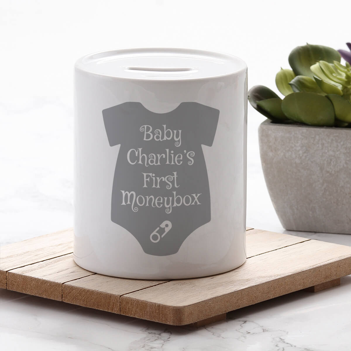 personalised Baby's First Personalised Money Box