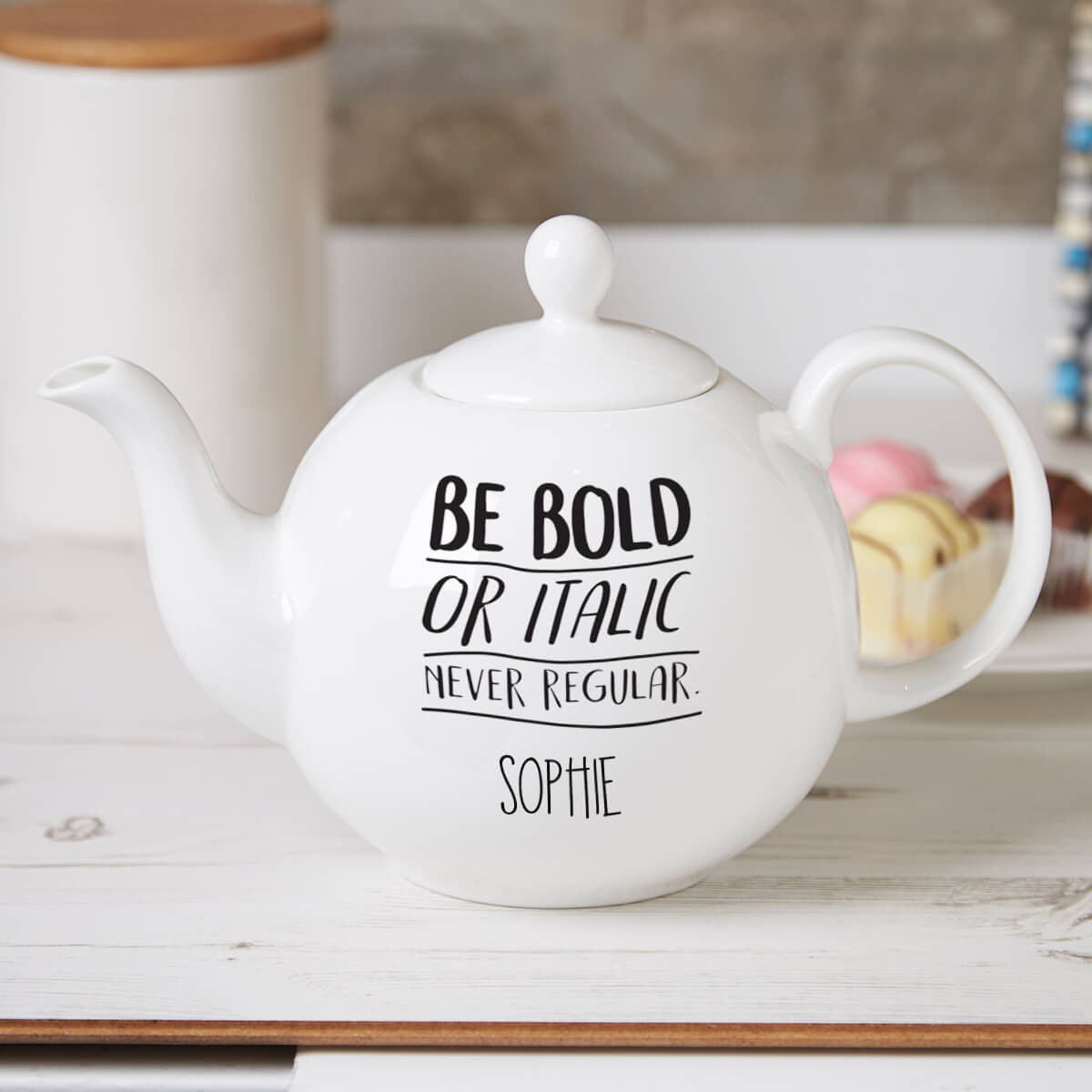 Personalised Be Bold Or Italic Pot Belly Teapot