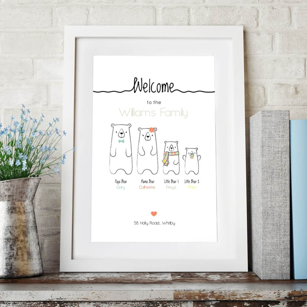personalised Welcome To The Bear Family Wall Art