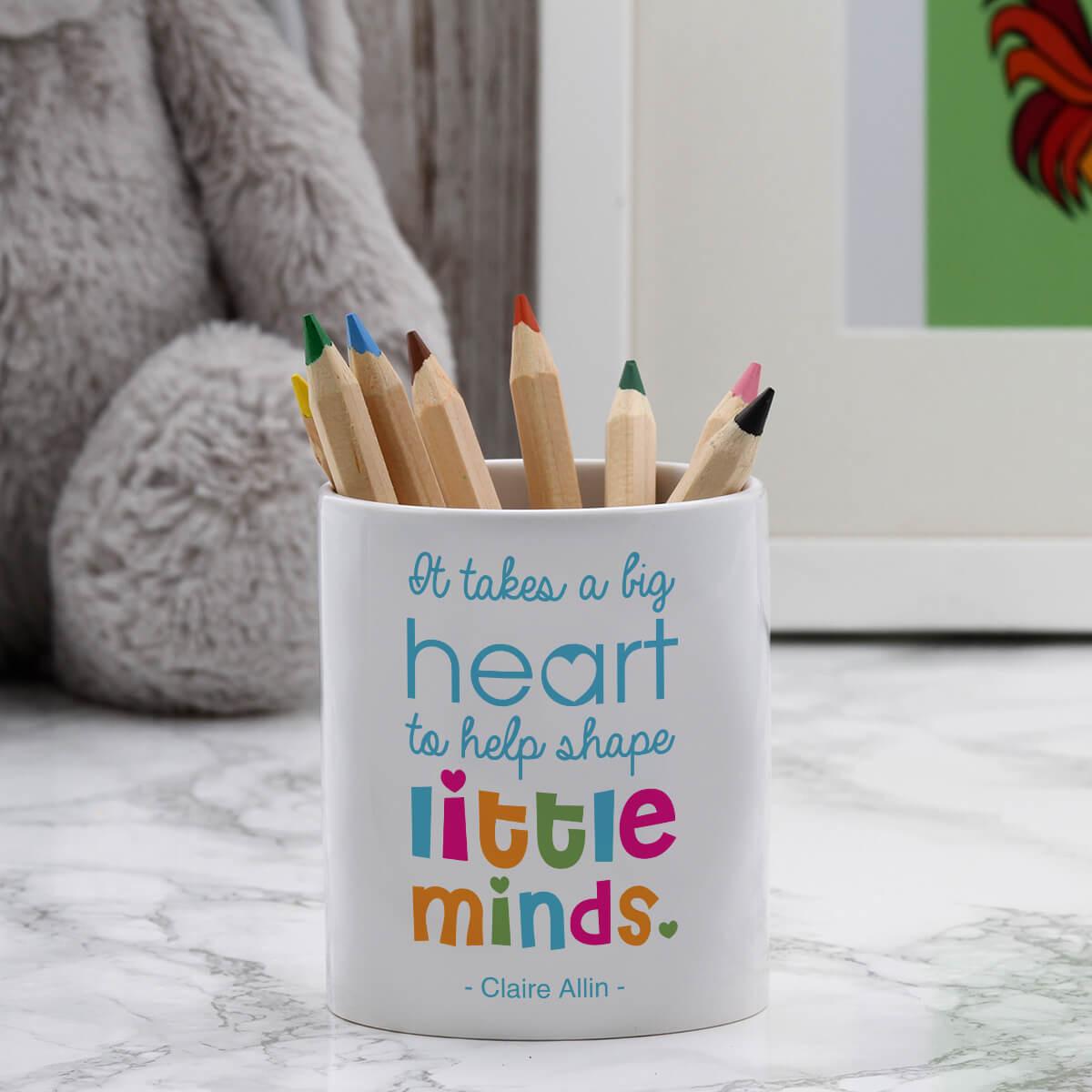 personalised big hearts little minds pen pot