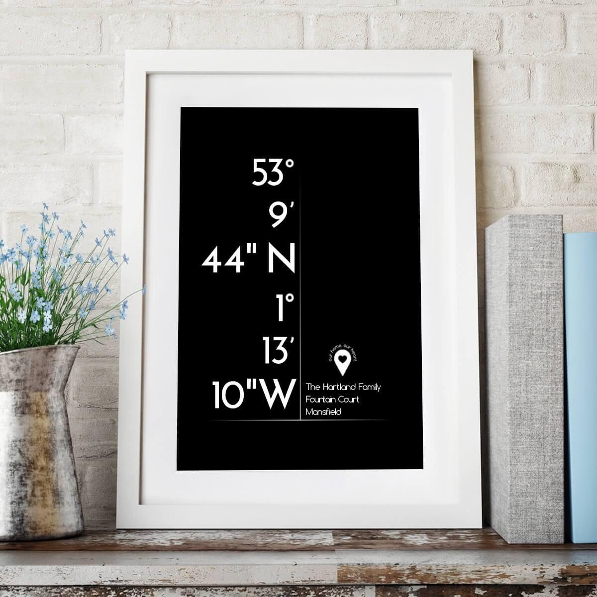 Co-Ordinates Wall Art (Black Design)