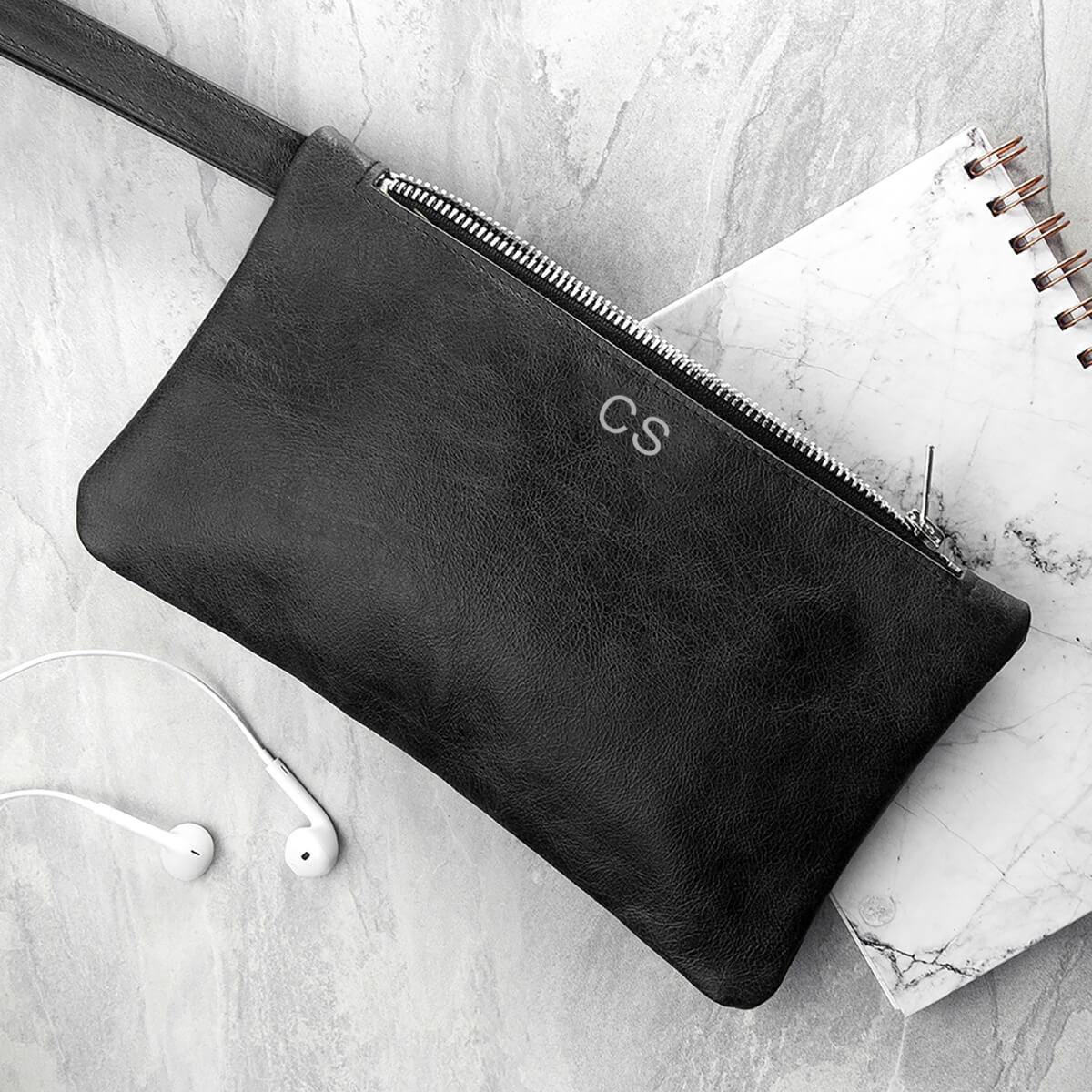 personalised black leather clutch