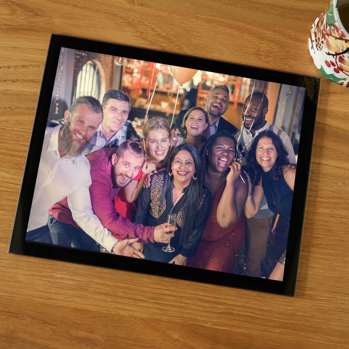 personalised Black Photo Table Mat