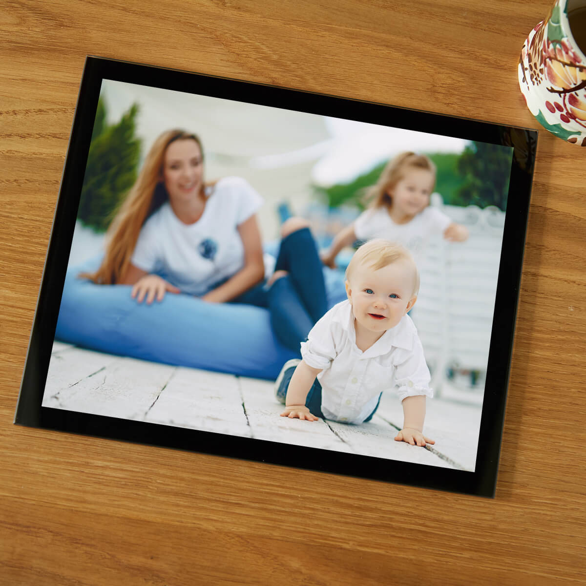 personalised Black Photo Table Mat