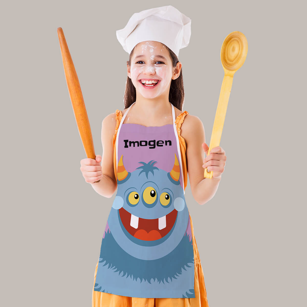 Personalised Blue Monster Apron