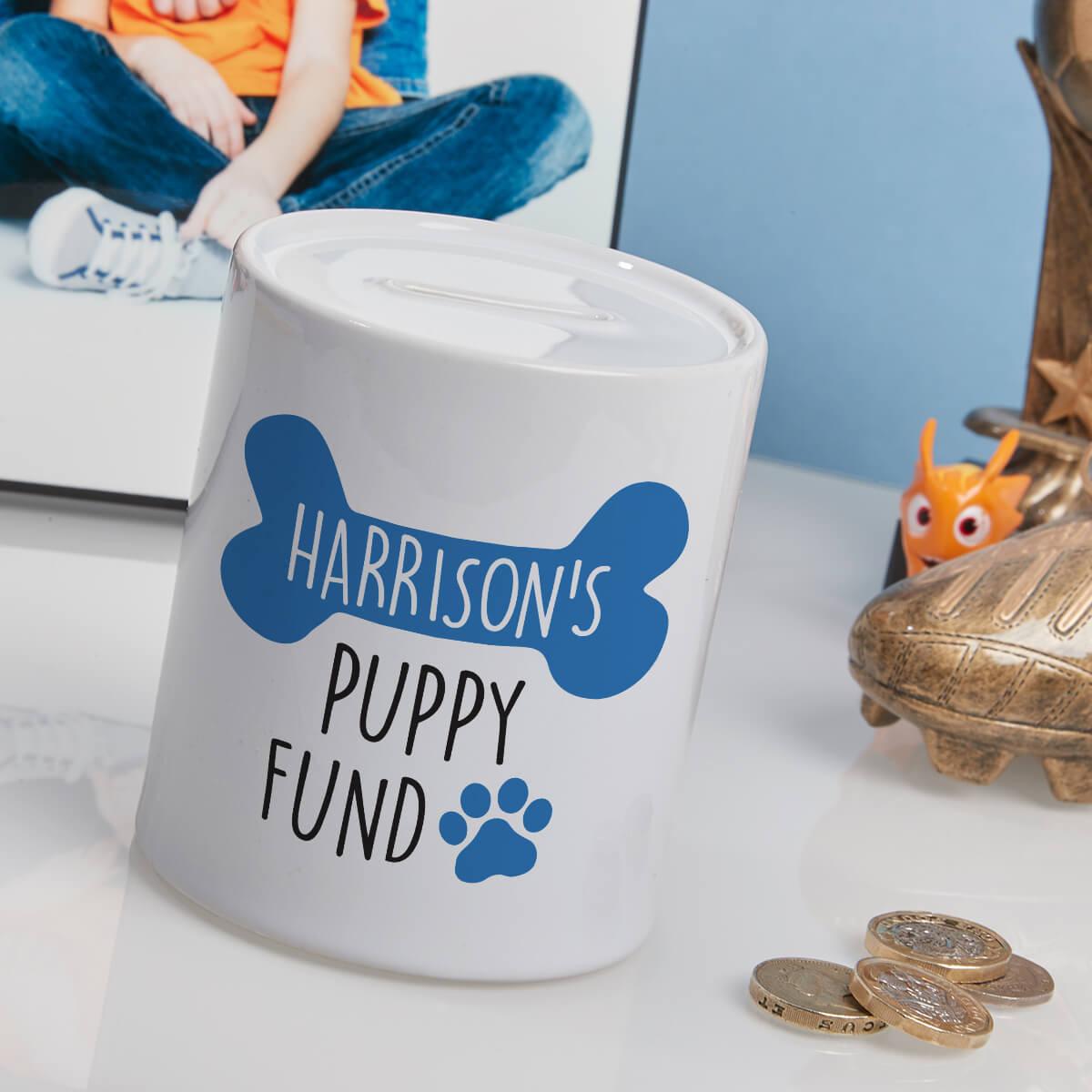 personalised blue puppy fund money box