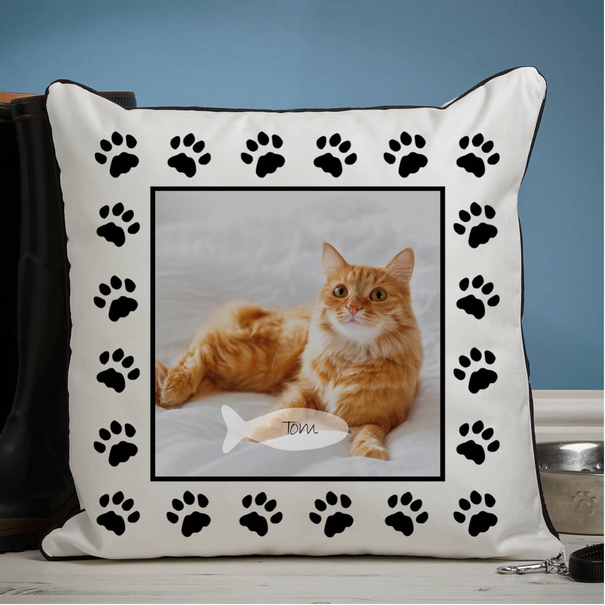 personalised Cat Paw Piped Photo Cushion