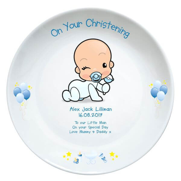 Personalised Christening Plate Baby Boy