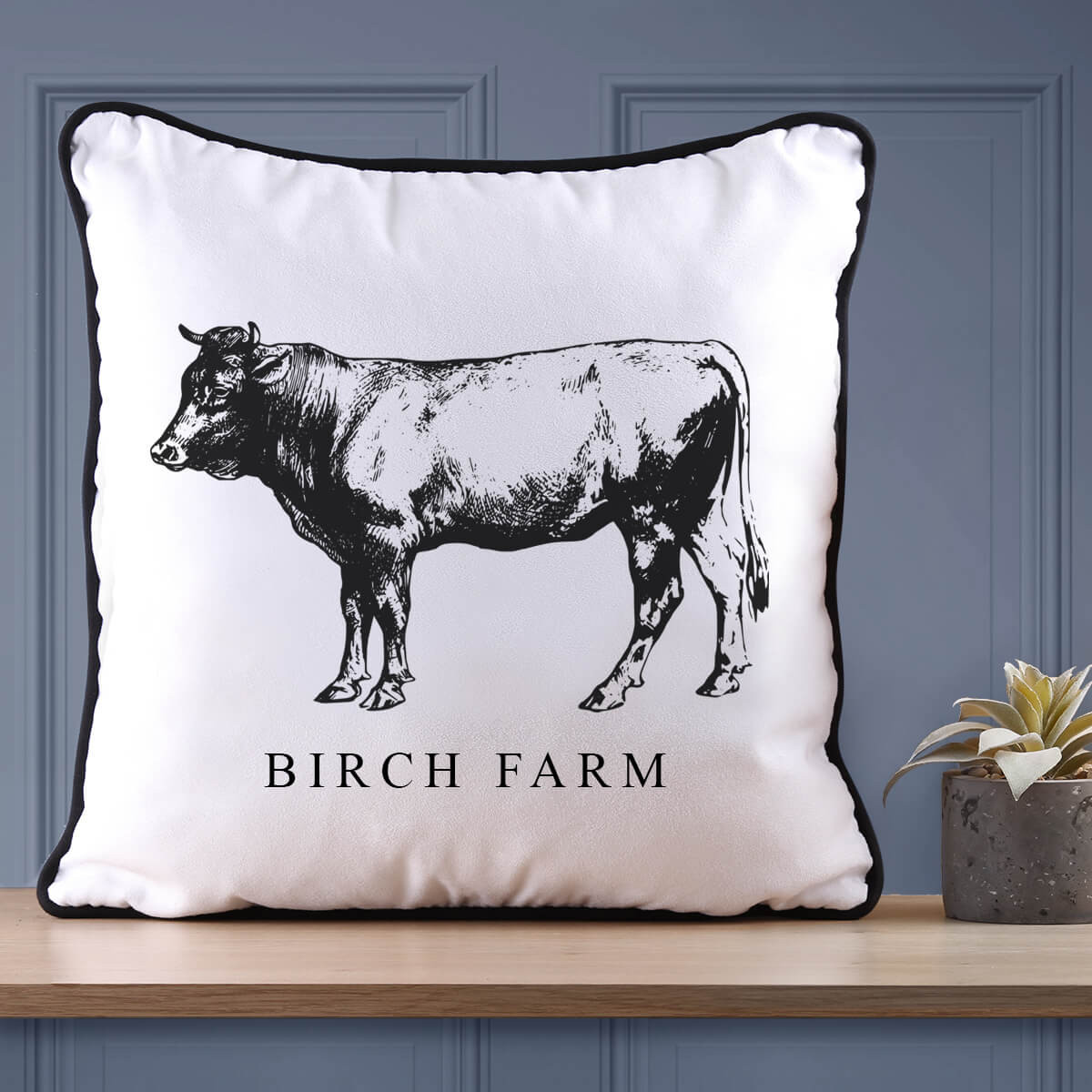 Personalised Cow Farm Piped Cushion
