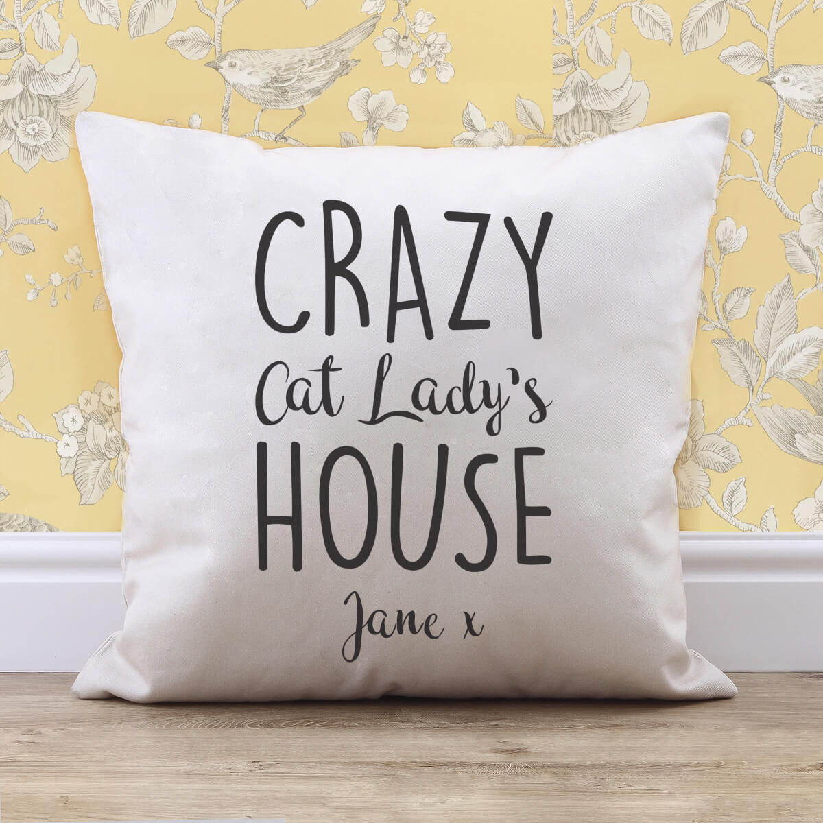 personalised Crazy Cat Lady Cotton Cushion