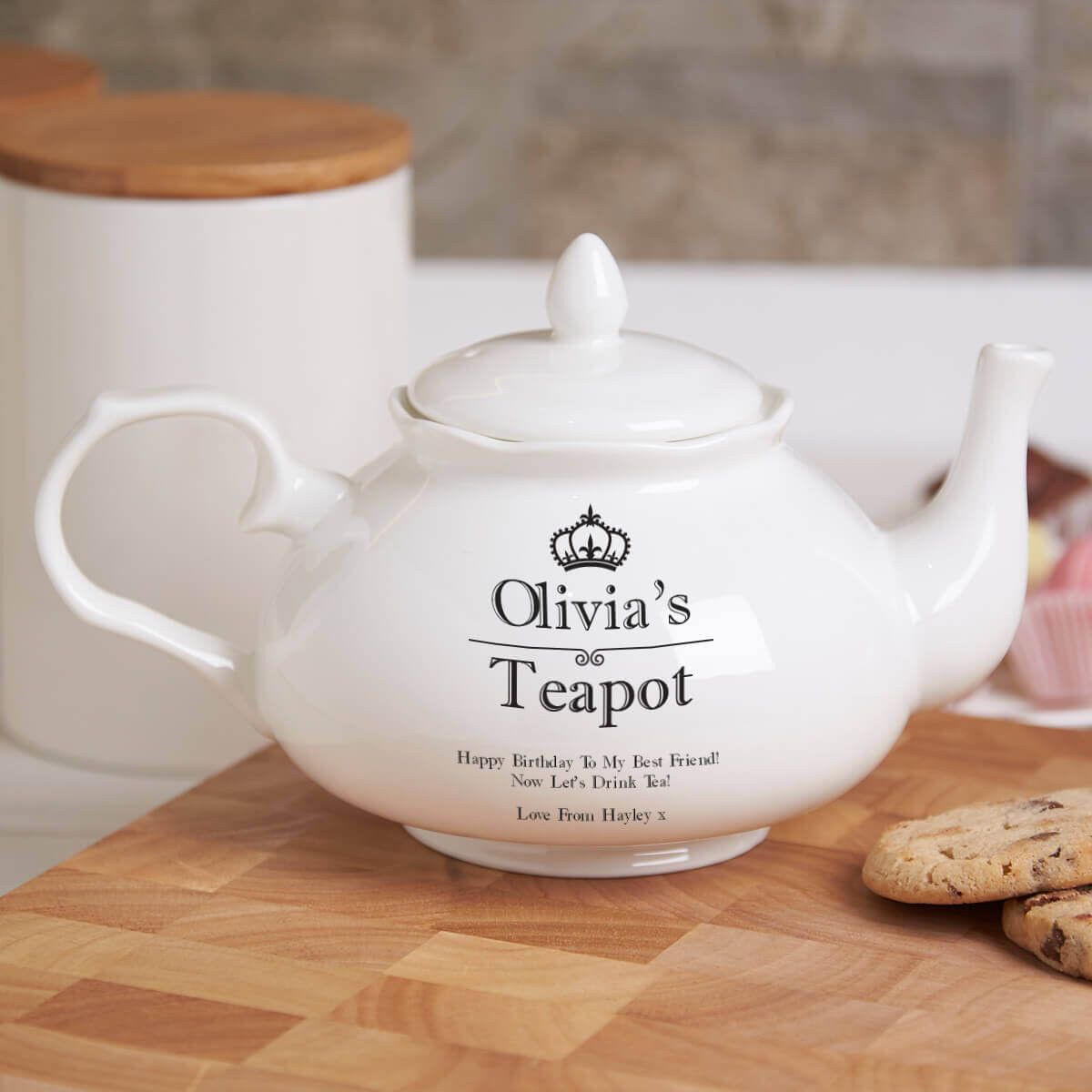 personalised 'Crown' Fine Bone China Traditional Teapot