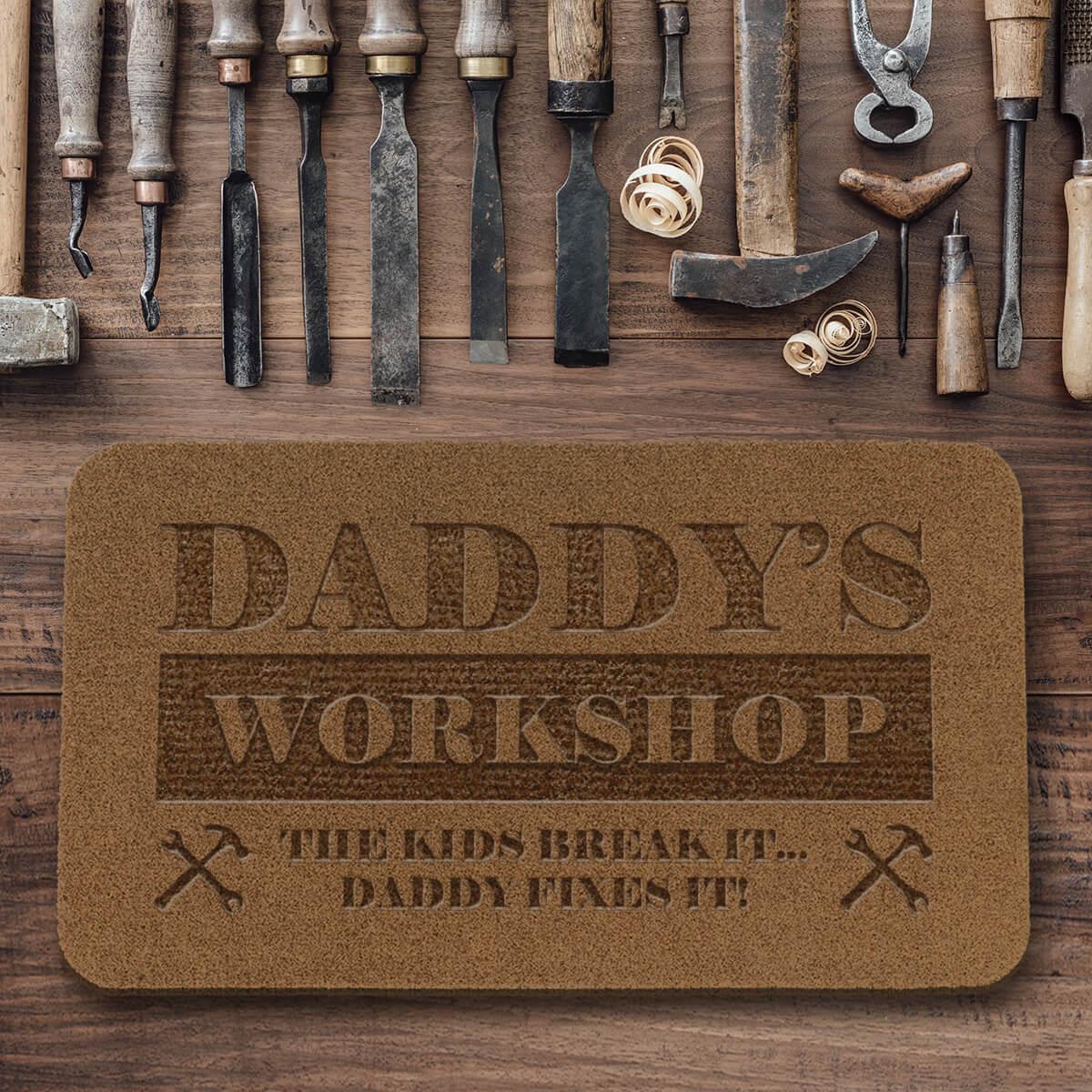 personalised Daddy's Workshop Outdoor Engraved Doormat
