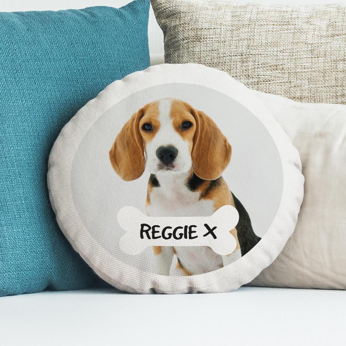 personalised dog bone photo cushion