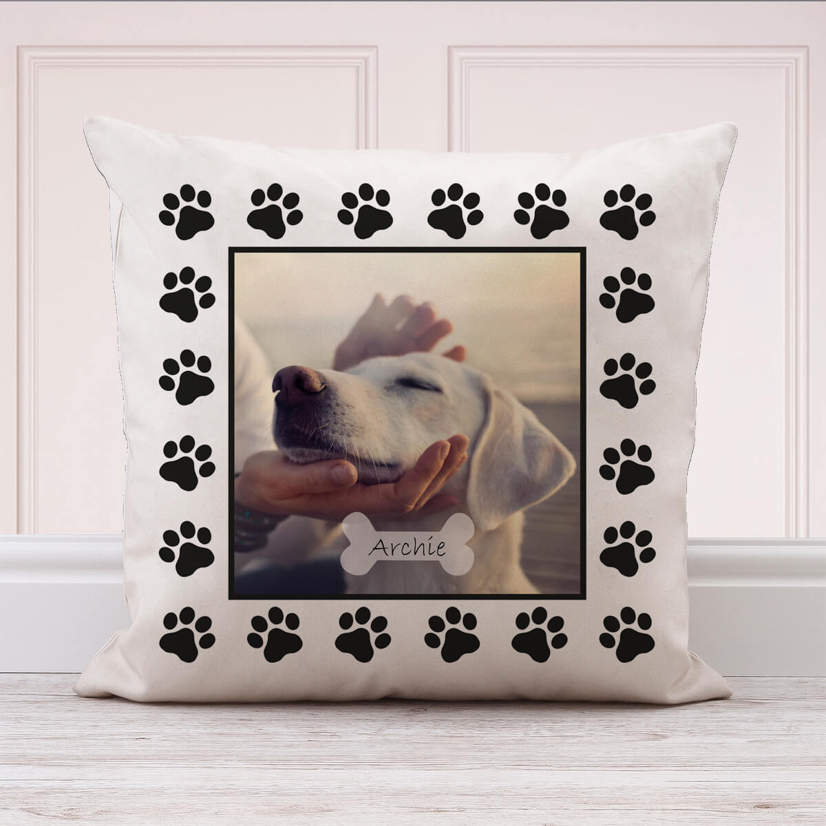 personalised Dog Paw Photo Cushion