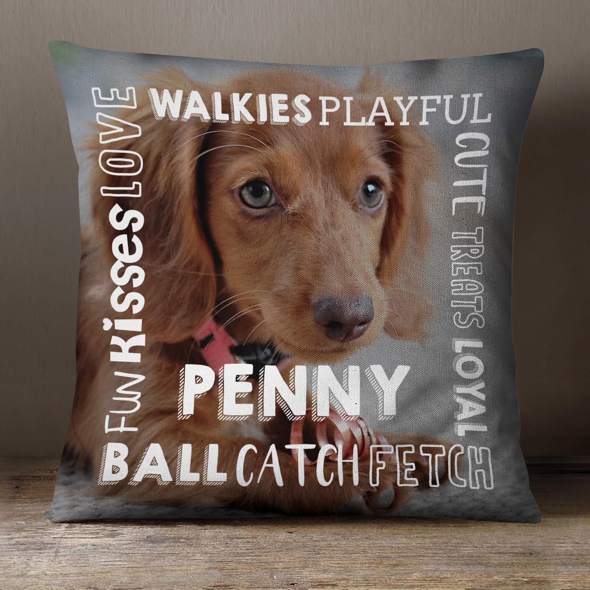 "personalised Dog Qualities Cushion18x18"" (White)"