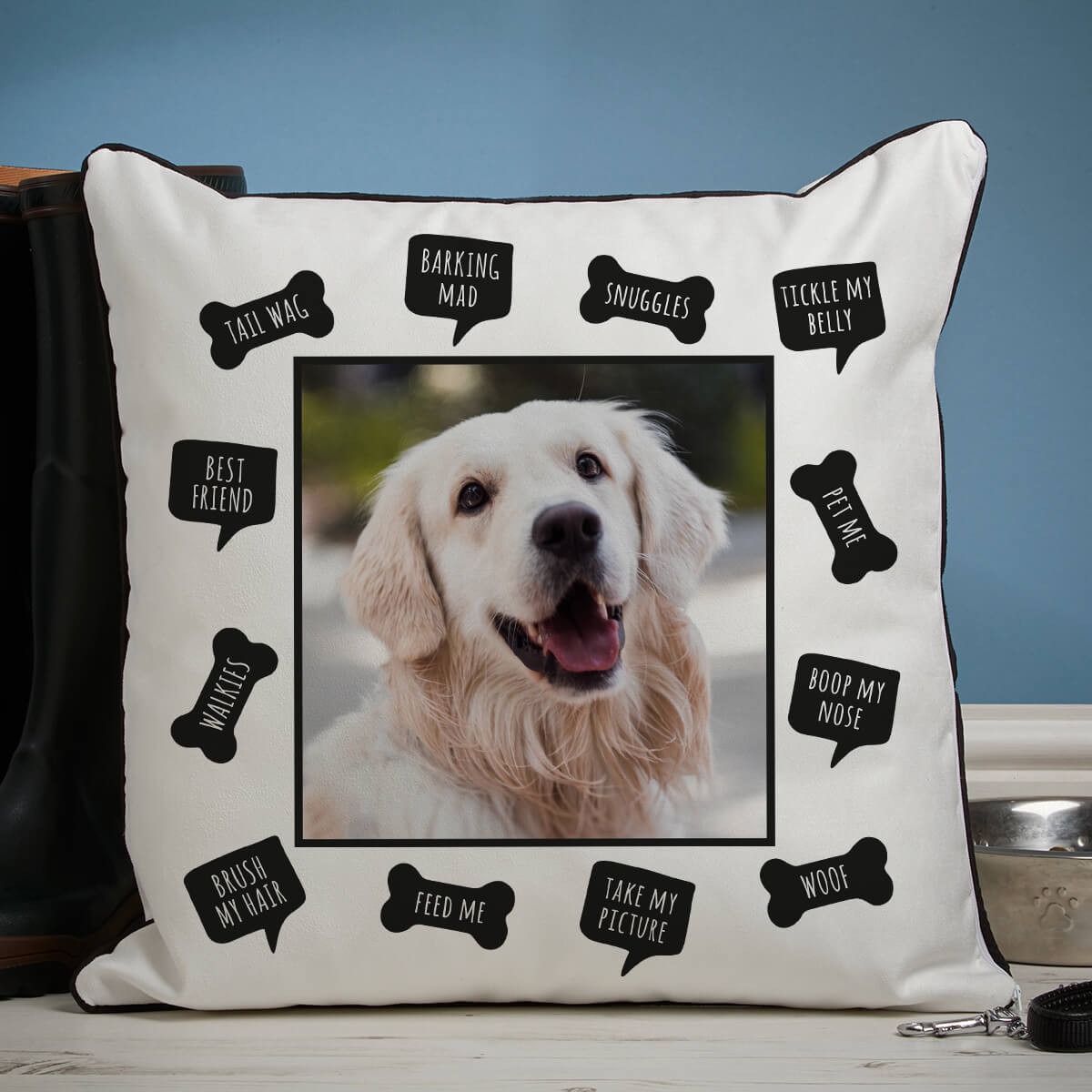 personalised Dog Words Piped Edge Photo Cushion
