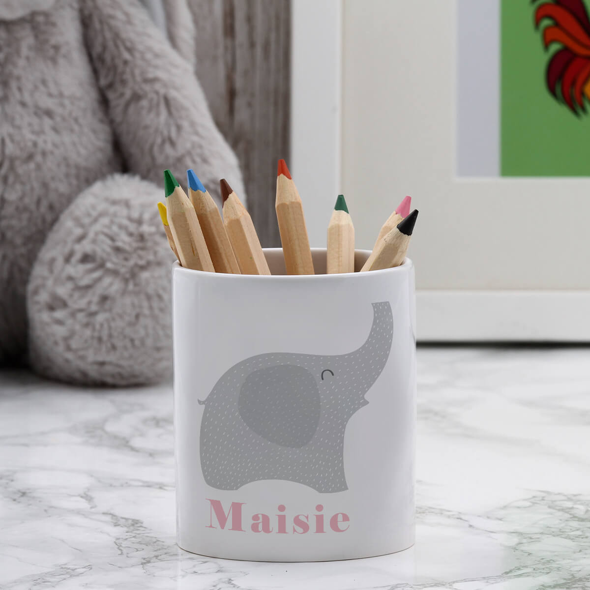 personalised Pink Elephant Pen Pot