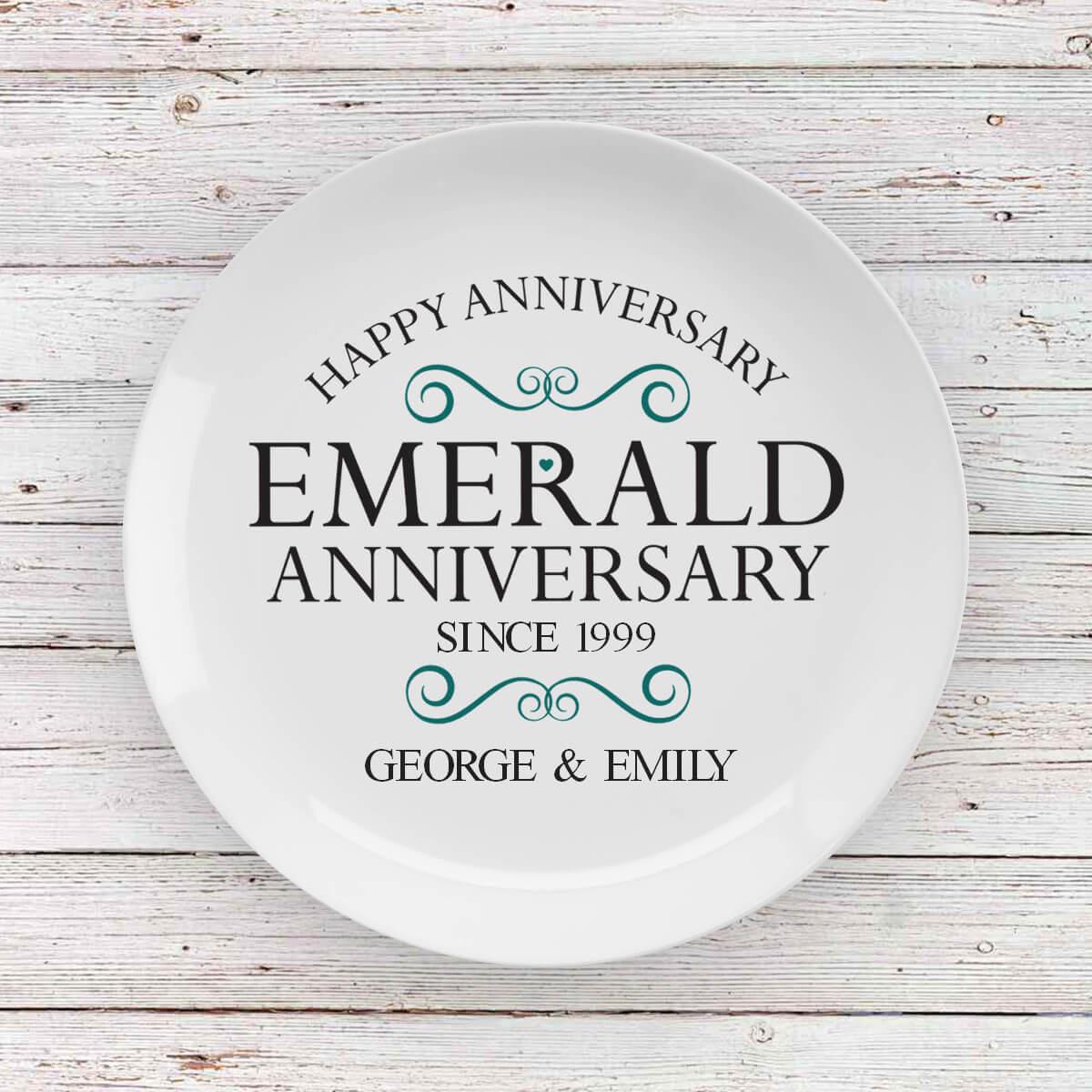 personalised Emerald Anniversary Plate