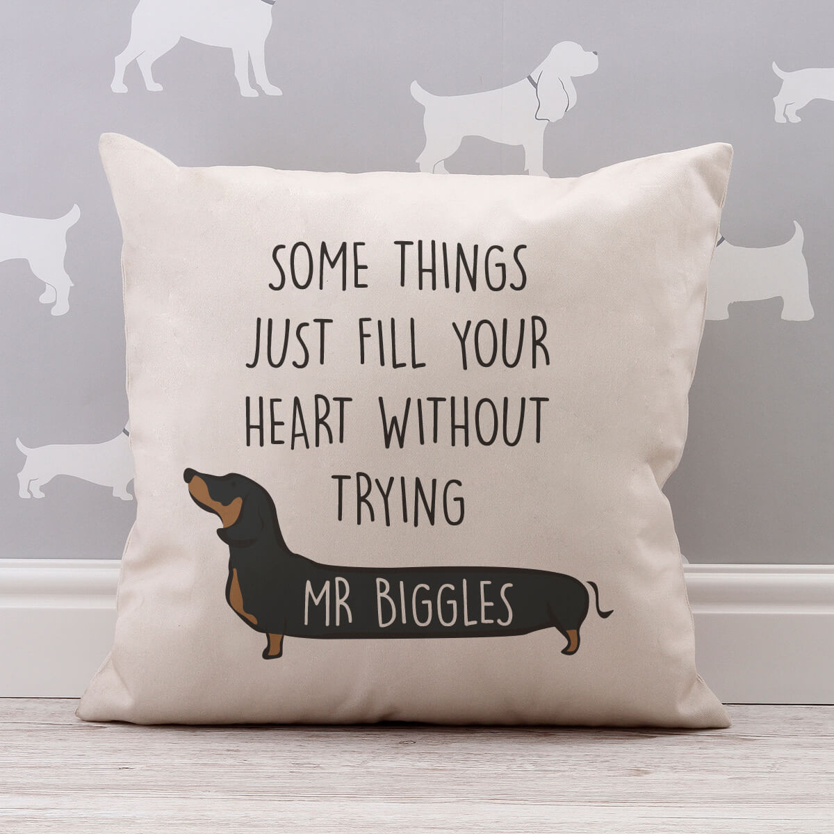 personalised Sausage Dog Cotton Cushion