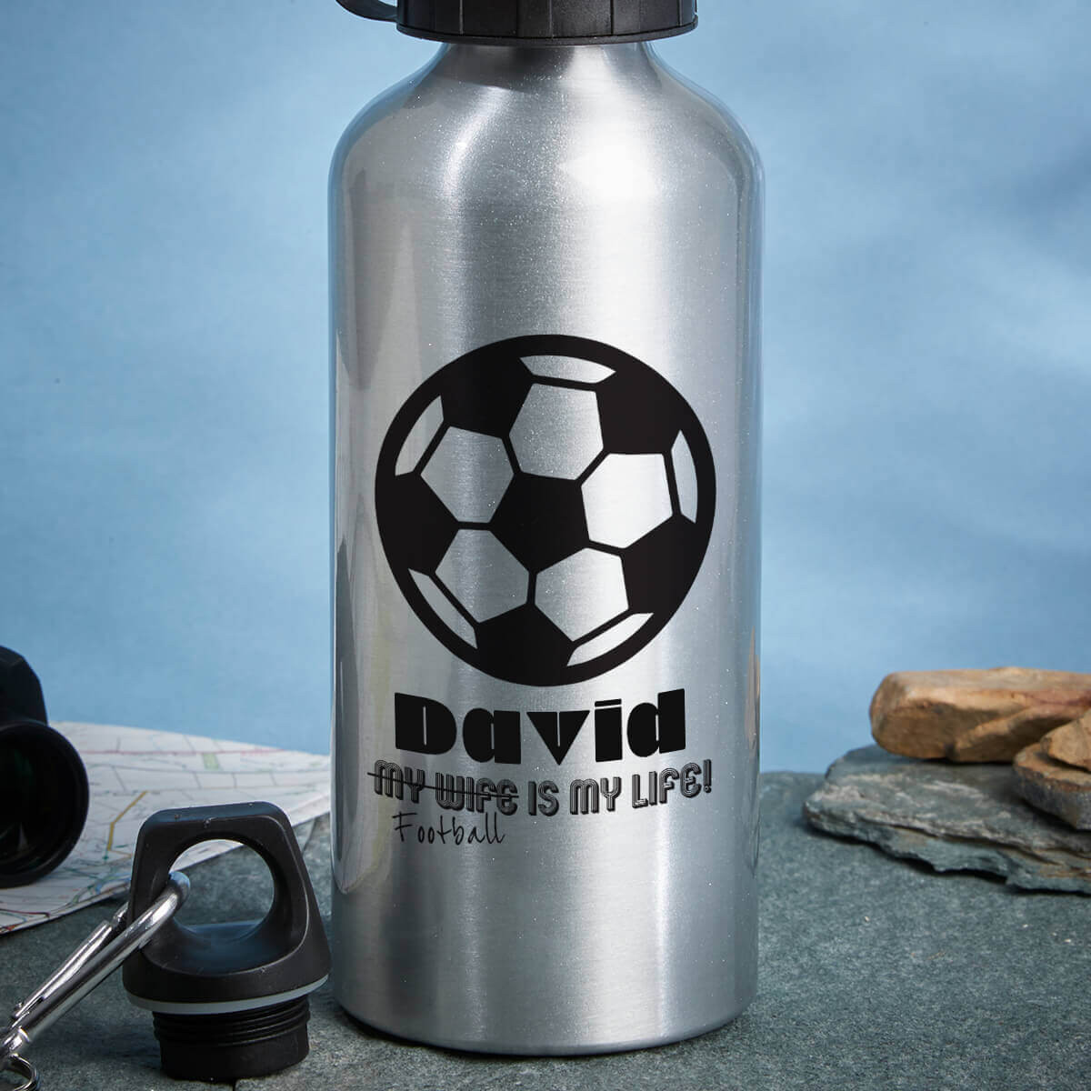 personalised Football is my life Silver Water Bottle