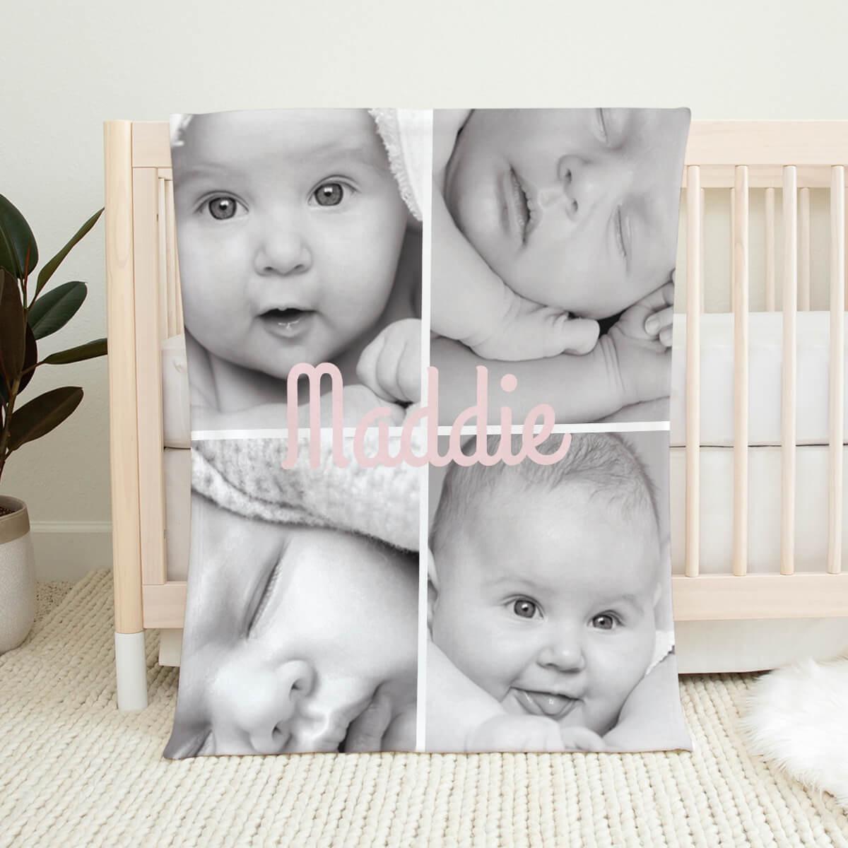 Girls Name Photo Collage Blanket