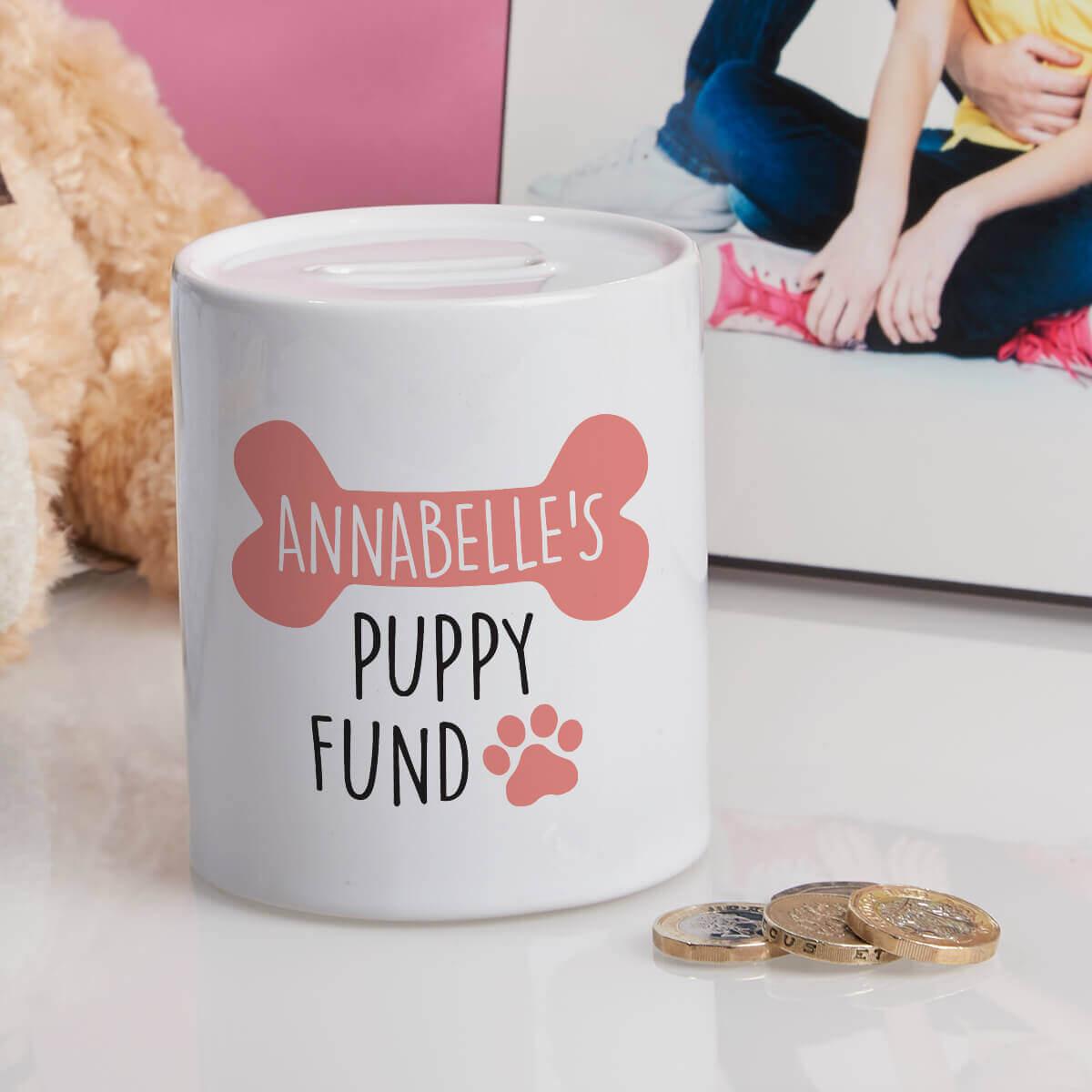 personalised pink puppy fund money box
