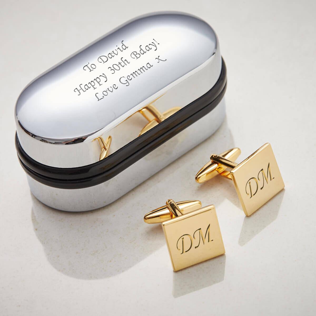 Personalised Gold Finish Square Cufflinks