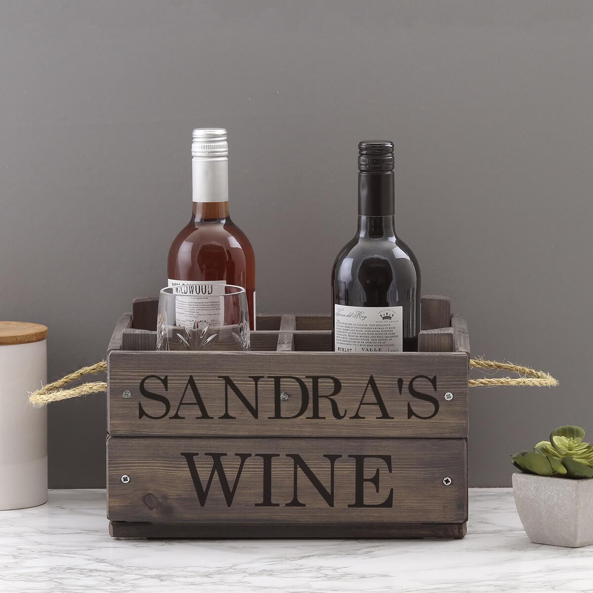 personalised grey wine crate