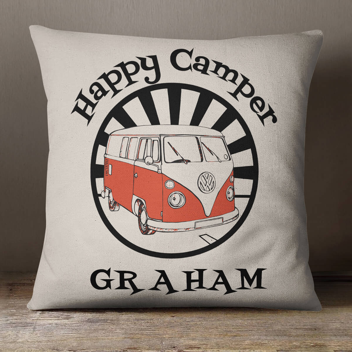 personalised Happy Camper Cotton Cushion