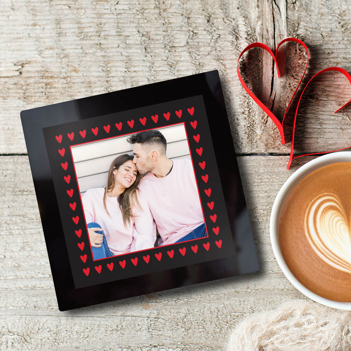 personalised Heart Border Black Glass Photo Coaster