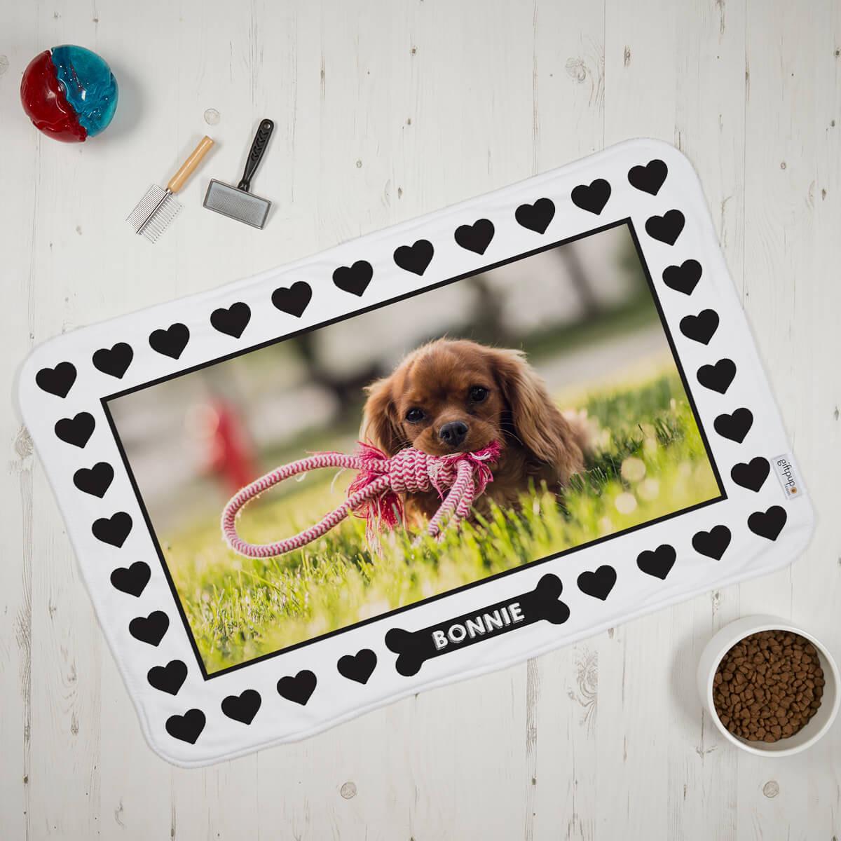 Dog Heart Print Pet Photo Blanket