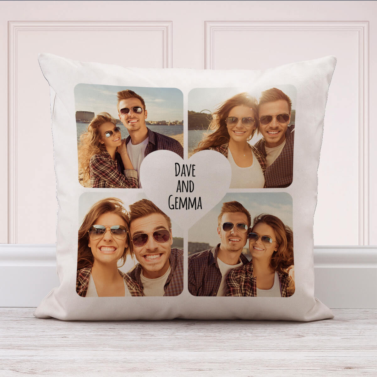 """Personalised Heart Collage Cushion (White) 18x18"""""""