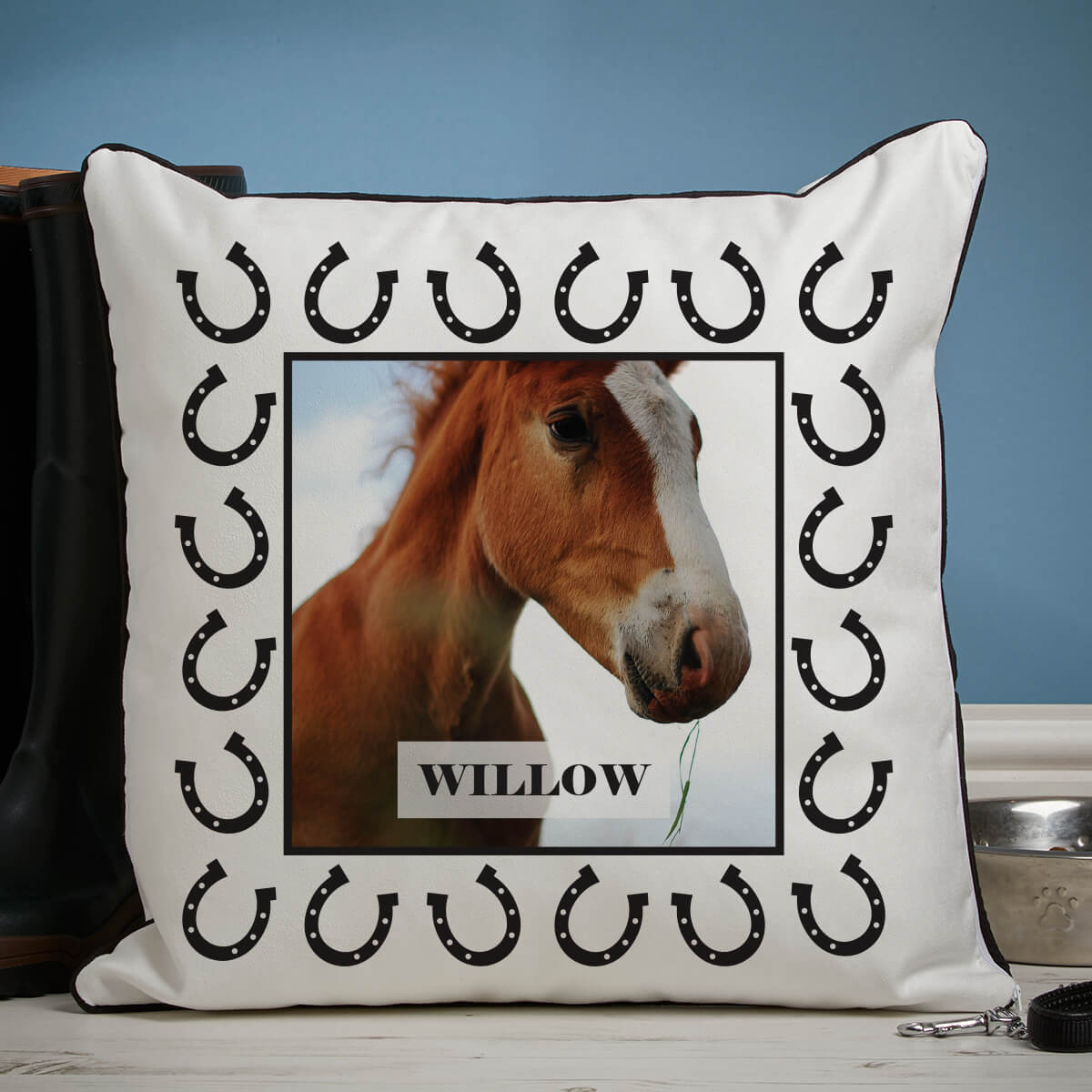 personalised Horse Shoe Border Piped Edge Photo Cushion
