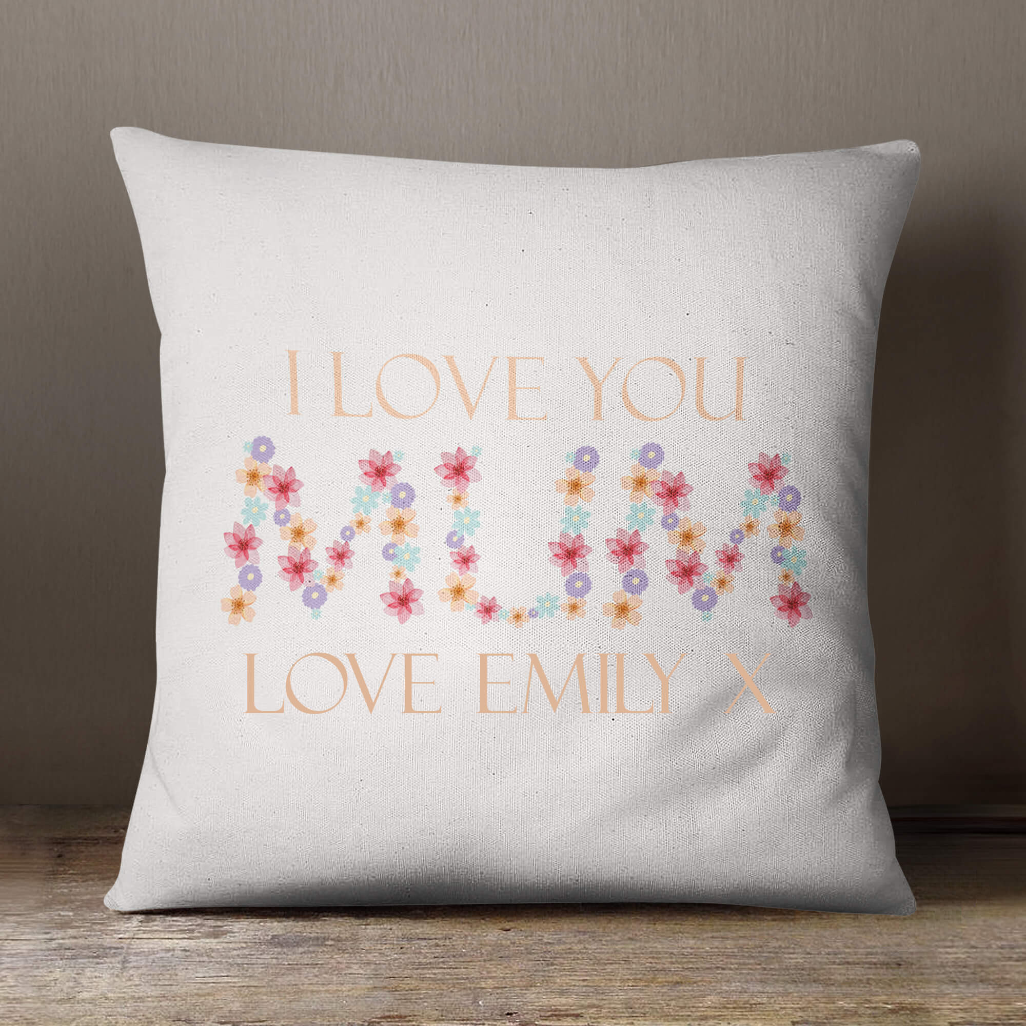 personalised I Heart You Cotton Cushion