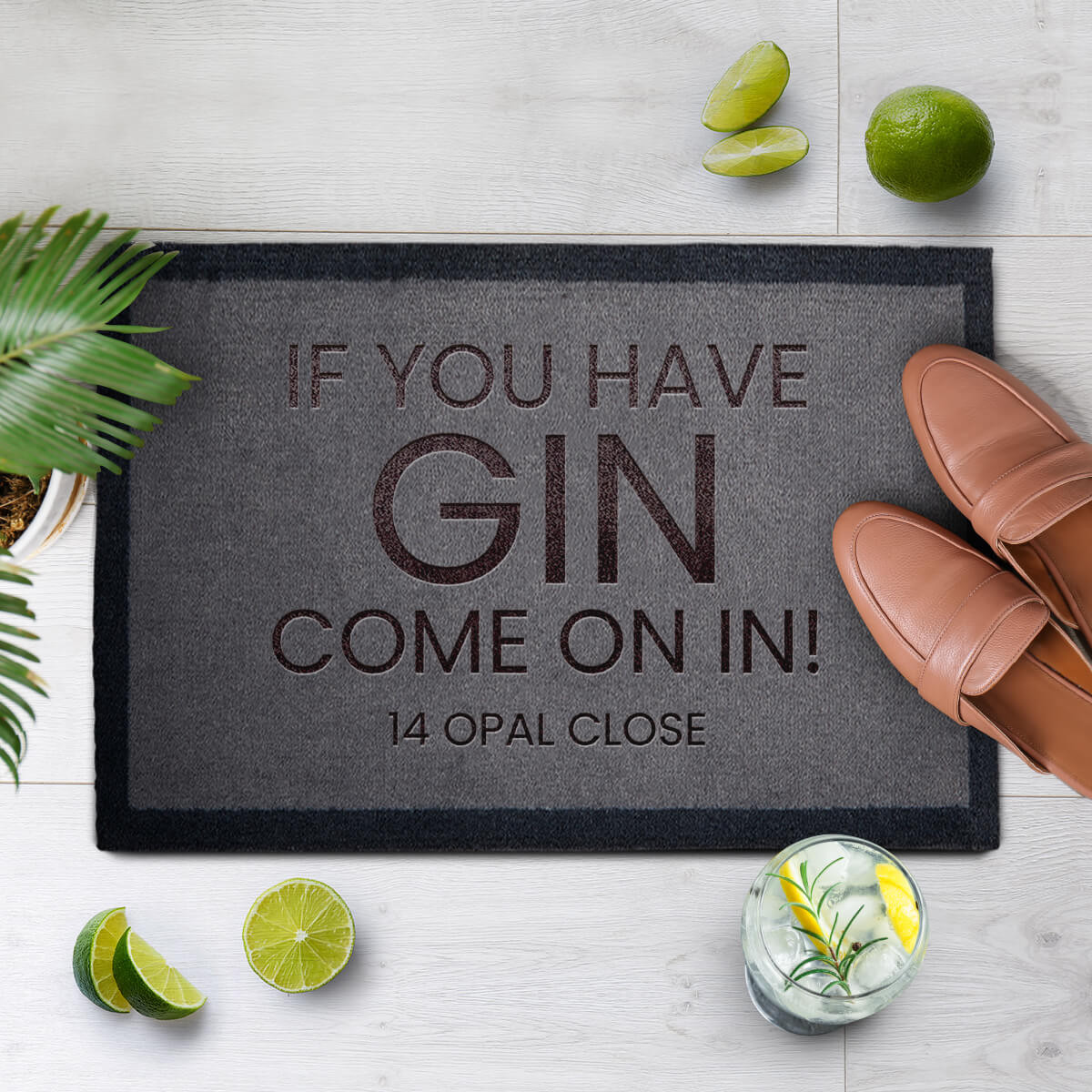 personalised Gin Come On In Doormat