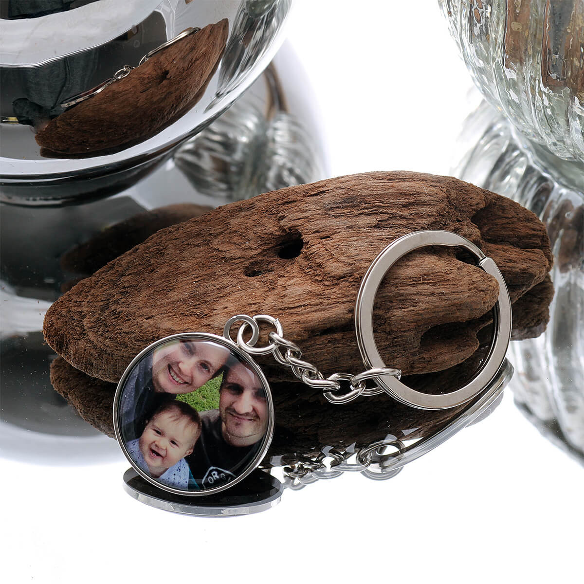 personalised Round Silver Photo Keyring