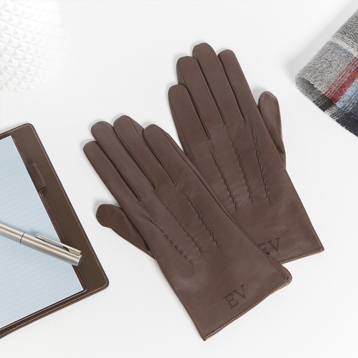 personalised Brown Leather Gloves