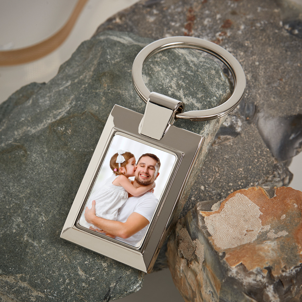Personalised Father's Day Metal Photo Upload Keyring
