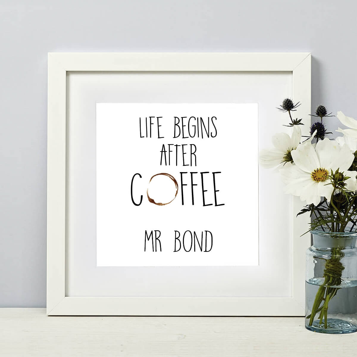 Personalised Life Begins After Coffee Square Wall Art