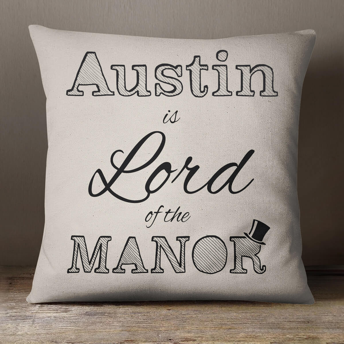 personalised Lord Of The Manor Cotton Cushion