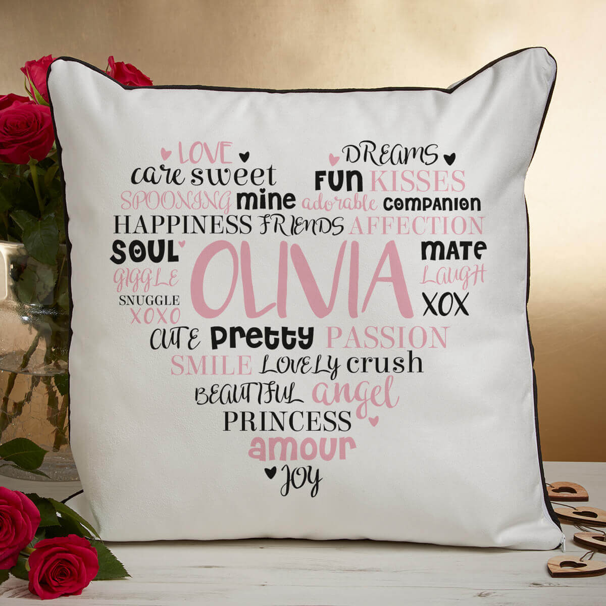 personalised love word heart cloud cushion