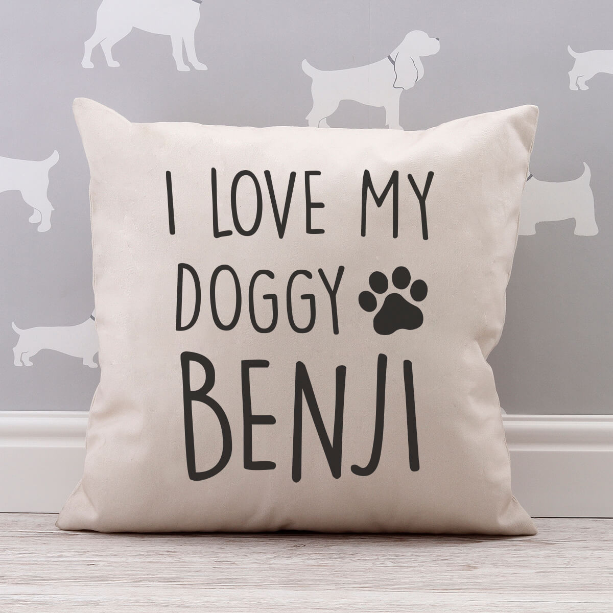 personalised I Love My Doggy Cotton Cushion